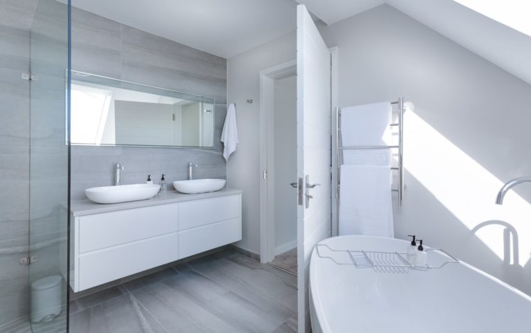 Spacious Bathroom with white finish